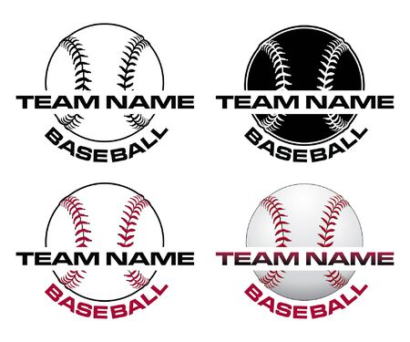 Baseball Designs With Team Name is an illustration of a four versions of a baseball design that can be used for t-shirts, flyers, ads or anything else you use to promote your team. Ilustração