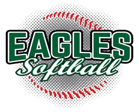 Eagles Softball Design is a team design template that includes a softball graphic and overlaying text. Great for advertising and promotion for teams or schools. Ilustração
