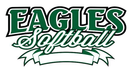 Eagles Softball With Banner is a design template that includes stylized text and a blank banner where you can include you own information. Great for t-shirts, advertising and promotions. Ilustração