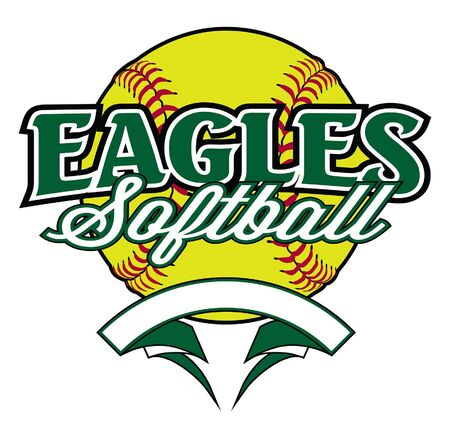 Eagles Softball Design With Banner and Ball is a team design template that includes a softball graphic, overlaying text and a blank banner with  for your own information. Great for advertising and promotion for teams or schools. Ilustração