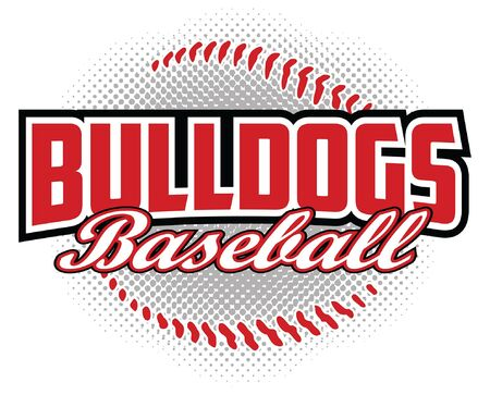 Bulldogs Baseball Design is a bulldogs mascot design template that includes team text and a stylized softball graphic in the . Great for team or school t-shirts, promotions and advertising. Ilustração