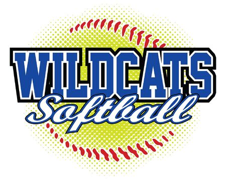 Wildcats Softball Design is a wildcats mascot design template that includes team text and a stylized softball graphic in the background. Great for team or school t-shirts, promotions and advertising.