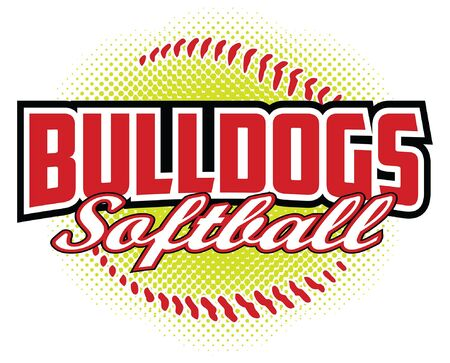 Bulldogs Softball Design is a bulldogs mascot design template that includes team text and a stylized softball graphic in the background. Great for team or school t-shirts, promotions and advertising. Ilustração