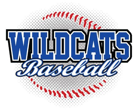 Wildcats Baseball Design is a wildcats mascot design template that includes team text and a stylized softball graphic in the background. Great for team or school t-shirts, promotions and advertising.