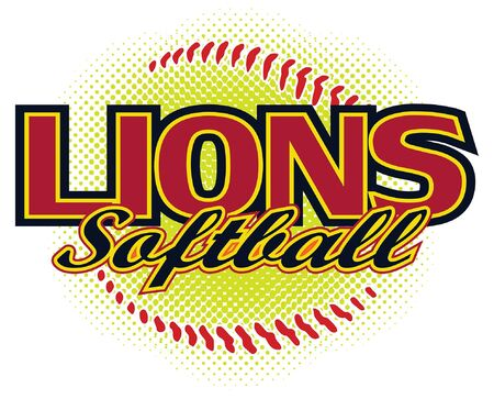 Lions Softball Design is a lions mascot design template that includes team text and a stylized softball graphic in the background. Great for team or school t-shirts, promotions and advertising. Ilustração