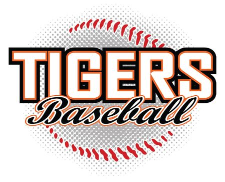 Tigers Baseball Design is a tigers mascot design template that includes team text and a stylized baseball graphic in the background. Great for team or school t-shirts, promotions and advertising.