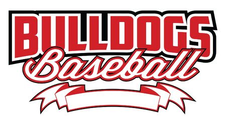 Bulldogs Baseball Design With Banner is a team design template that includes text and a blank banner with space for your own information. Great for advertising and promotion for teams or schools. Ilustração