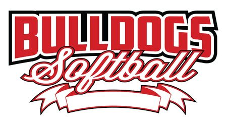 Bulldogs Softball Design With Banner is a team design template that includes text and a blank banner with space for your own information. Great for advertising and promotion for teams or schools.