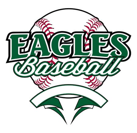Eagles Baseball Design With Banner and Ball is a team design template that includes a softball graphic, overlaying text and a blank banner with space for your own information. Great for advertising and promotion for teams or schools.