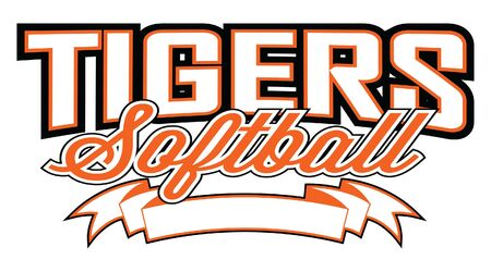 Tigers Softball Design With Banner is a team design template that includes text and a blank banner with space for your own information Ilustração