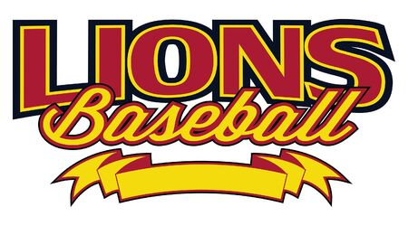 Lions Baseball Design With Banner is a team design template that includes text and a blank banner with space for your own information. Great for advertising and promotion for teams or schools. Ilustração
