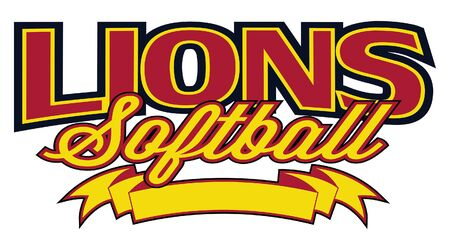 Lions Softball Design With Banner is a team design template that includes text and a blank banner with space for your own information. Great for advertising and promotion for teams or schools.
