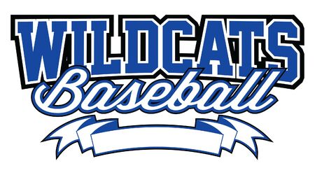 Wildcats Baseball Design With Banner is a team design template that includes text and a blank banner with space for your own information. Great for advertising and promotion for teams or schools. Ilustração