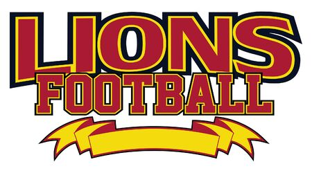 Lions Football With Banner is a team design template that includes text and a blank banner with space for your own information. Great for advertising and promotion for teams or schools.