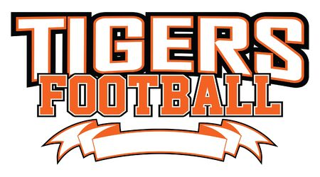 Tigers Football With Banner is a team design template that includes text and a blank banner with space for your own information. Great for advertising and promotion for teams or schools.
