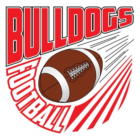 Bulldogs Football Team Design is a sports design template that includes graphic text and a flying ball. Great for advertising and promotion such as t-shirts for teams or schools.
