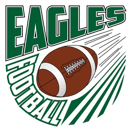 Eagles Football Team Design is a sports design template that includes graphic text and a flying ball. Great for advertising and promotion such as t-shirts for teams or schools.