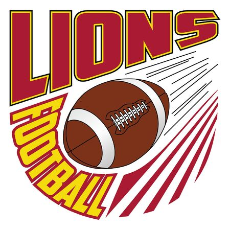 Lions Football Team Design is a sports design template that includes graphic text and a flying ball. Great for advertising and promotion such as t-shirts for teams or schools.
