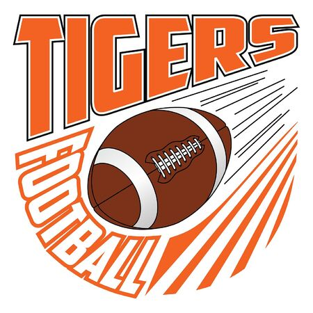 Tigers Football Team Design is a sports design template that includes graphic text and a flying ball. Great for advertising and promotion such as t-shirts for teams or schools.