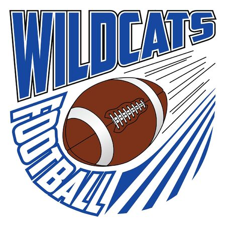 Wildcats Football Team Design is a sports design template that includes graphic text and a flying ball. Great for advertising and promotion such as t-shirts for teams or schools.
