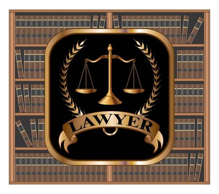 Lawyer Design is an illustration of a law or lawyer emblem that includes scales of justice, crest, and a banner with LAWYER text. It has a background of bookshelves filled with book as you would see in a library. Ilustração