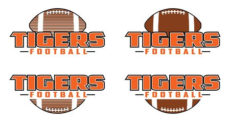 Tigers Football Design is a team design template that includes text and a football in a graphic style. Includes four design versions. Great for advertising and promotion for teams or schools. Ilustração