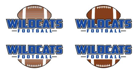 Wildcats Football Design is a team design template that includes text and a football in a graphic style. Includes four design versions. Great for advertising and promotion for teams or schools.