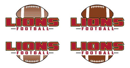 Lions Football Design is a team design template that includes text and a football in a graphic style. Includes four design versions. Great for advertising and promotion for teams or schools.