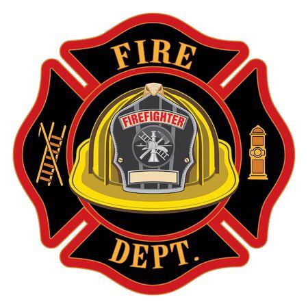 El casco amarillo de la cruz del departamento de bomberos es una ilustración de un bombero o un emblema de la cruz de Malta con un casco de bombero amarillo y una insignia que contiene un espacio vacío para el texto en primer plano. Ideal para camisetas, folletos y sitios web.