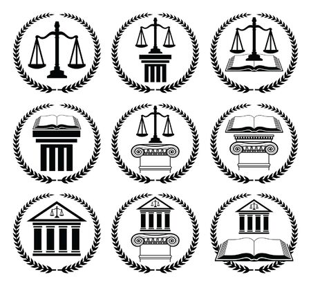 Law or Lawyer Seal Set is an illustration of 9 law or lawyer seal or emblem designs that include scales of justice, crest, law book, law building and architectural columns.