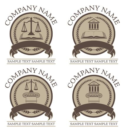 Law or Lawyer Seal Design Set is an illustration of 4 law or lawyer seal or emblem designs that include graphic images of the scales of justice, a crest, a law book, a law building, and architectural columns. Great for branding and promotional products.
