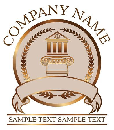 Law or Lawyer Seal - Gold With Colonnade and Ionic Column is an illustration of a lawyer or law office seal or emblem design that includes graphic images of a crest, a banner, a colonnade and an Ionic column with room for your own text. Great for branding and promotional products.