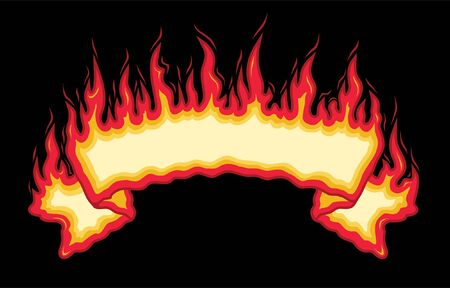 Fire Flames Banner is an illustration of an top arched flaming fire banner with open space for you to add your own text. Illustration