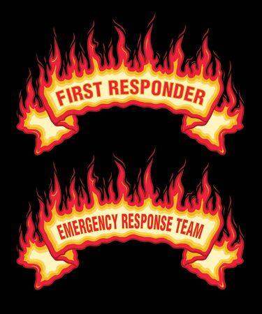 Banner für Ersthelfer-Feuerflammen