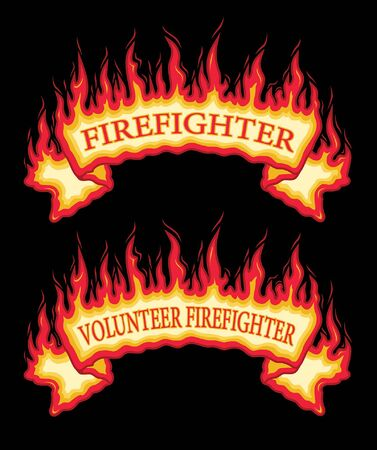 Firefighter Fireman Fire Flames Banner is an illustration of an top arched flaming fire banner with firefighter and volunteer firefighter text. Great promotional graphic for fireman and fire stations. The vector format is easy to edit and separate. Ilustração