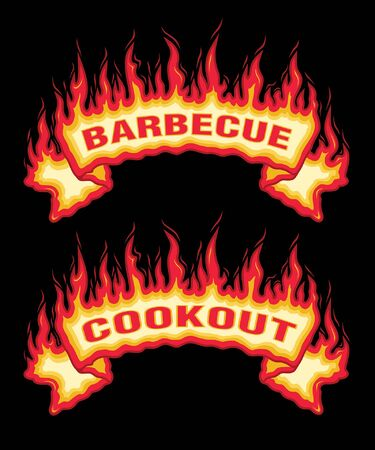 Barbecue Cookout Fire Flames Banner is an illustration of an top arched flaming fire banner with barbecue or cookout text. Great promotional graphic for parties and cookouts. The vector format is easy to edit and separate.