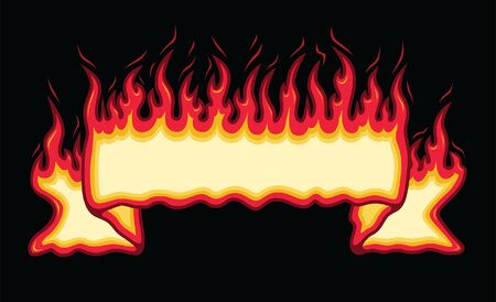 Fire Flame Banner Straight Scroll is an illustration of an straight scroll flaming fire banner with open space for you to add your own text. Great promotional image for firefighters, cookouts, barbecues and parties. The vector format is easy to edit and separate.
