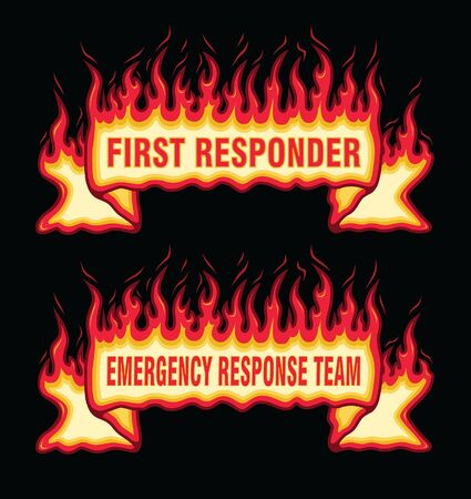 First Responder Fire Flame Banner Straight Scroll is an illustration of an straight scroll flaming fire banner with first responders and emergency response team text.