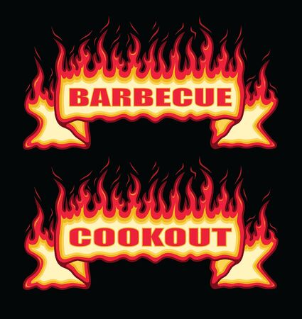 Barbecue Cookout Fire Flame Banner Straight Scroll is an illustration of a straight scroll flaming fire banner with barbecue or cookout text. Great promotional graphic for parties and cookouts. Ilustração