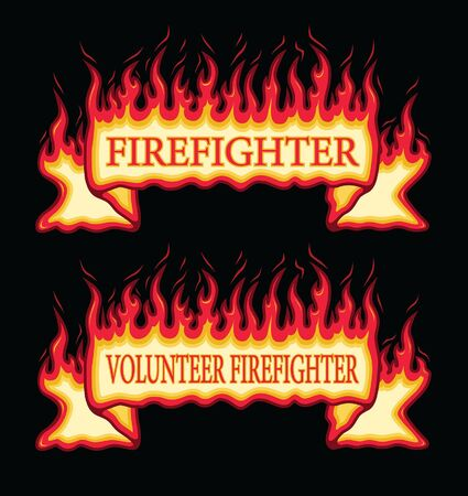 Firefighter Fire Flame Banner Straight Scroll is an illustration of an straight scroll flaming fire banner with firefighter and volunteer firefighter text. Great promotional graphic for fireman and fire stations. The vector format is easy to edit and separate.