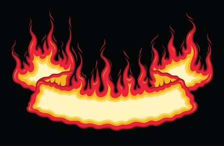 Fire Flame Banner Bottom Arch Scroll is an illustration of a bottom arch flaming scroll banner with open space for your own text. Great promotional image for firefighters, cookouts, barbecues and parties. The vector format is easy to edit and separate.