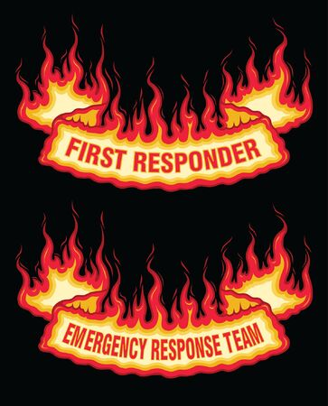 First Responder Fire Flame Banner Bottom Arch Scroll is an illustration of a bottom arch flaming scroll banner with first responder and emergency response team text. Great promotional image for firefighter, fireman, EMT and ERT workers. The vector format is easy to edit and separate.
