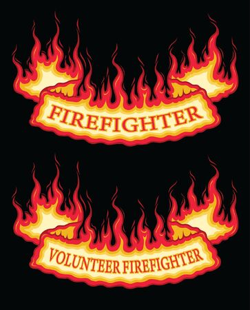 Firefighter Fire Flame Banner Bottom Arch Scroll is an illustration of a bottom arch flaming scroll banner with firefighter and volunteer firefighter text. Great promotional graphic for fireman and fire stations. The vector format is easy to edit and separate.