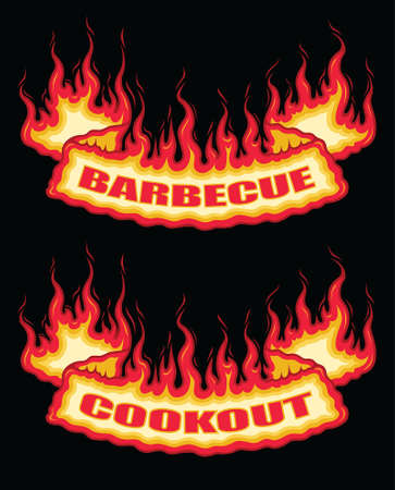 Barbecue Cookout Fire Flame Banner Bottom Arch Scroll is an illustration of a bottom arch flaming scroll banner with barbecue or cookout text. Great promotional graphic for parties and cookouts. The vector format is easy to edit and separate.