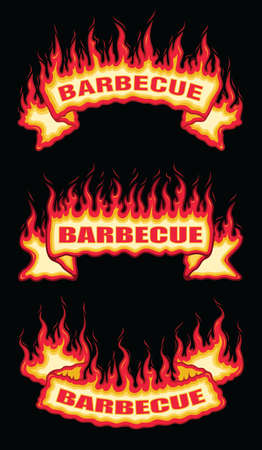 Barbecue Fire Flame Scroll Banners is an illustration of a three flaming banners with barbecue text. Includes a top arched, a straight and a bottom arched banner. Great for barbecues, parties and cook