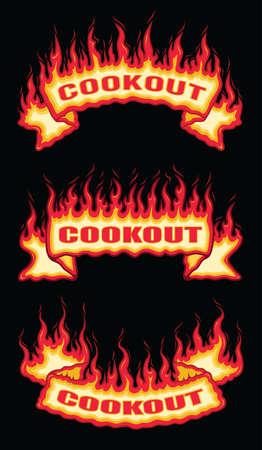 Cookout Fire Flame Scroll Banners is an illustration of a three flaming banners with cookout text. Includes a top arched, a straight and a bottom arched banner. Great for barbecues and parties.