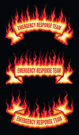 Emergency Response Team Fire Flame Scroll Banners is an illustration of three flaming banners with emergency response team text. Upper Arch, straight and bottom arch banners included.