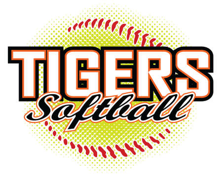Tigers Softball Design is a tigers mascot design template that includes team text and a stylized softball graphic in the background. Great for team or school t-shirts, promotions and advertising.