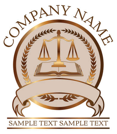 Law or Lawyer Seal - Gold With Scales of Justice and Law Book is an illustration of a lawyer or law office seal or emblem design that includes graphic images of a crest, a banner, scales of justice.