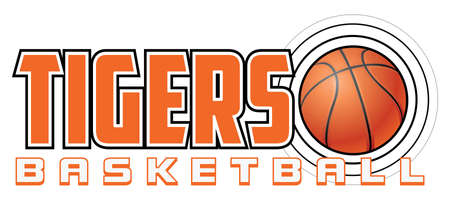 Tigers Basketball Design is a sports design template that includes graphic text and a flying ball. Great for advertising and promotion such as t-shirts for teams or schools. Ilustração